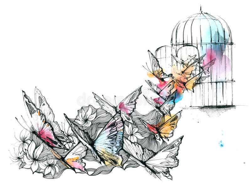Frihet stock illustrationer