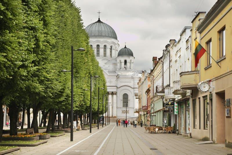 Frihetboulevard - LaisvÄ-s aleja i Kaunas lithuania arkivfoton