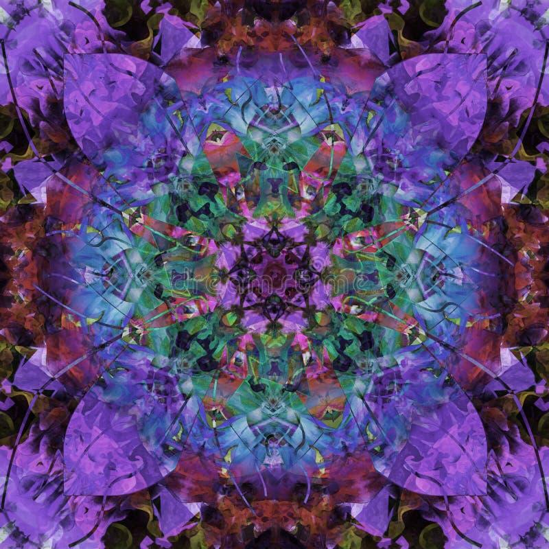 Frihetmandalablomma, i purpurfärgat, violett som är blå, burgundy, abstrakt bakgrund vektor illustrationer