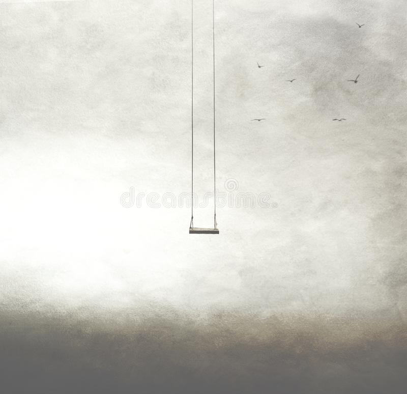 Frihetsbegrepp av en ensam gunga i himlen royaltyfria bilder