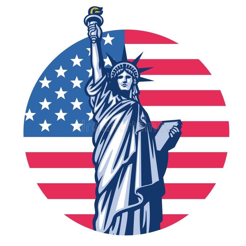 Frihetstaty med Förenta staterna flaggabakgrund vektor illustrationer