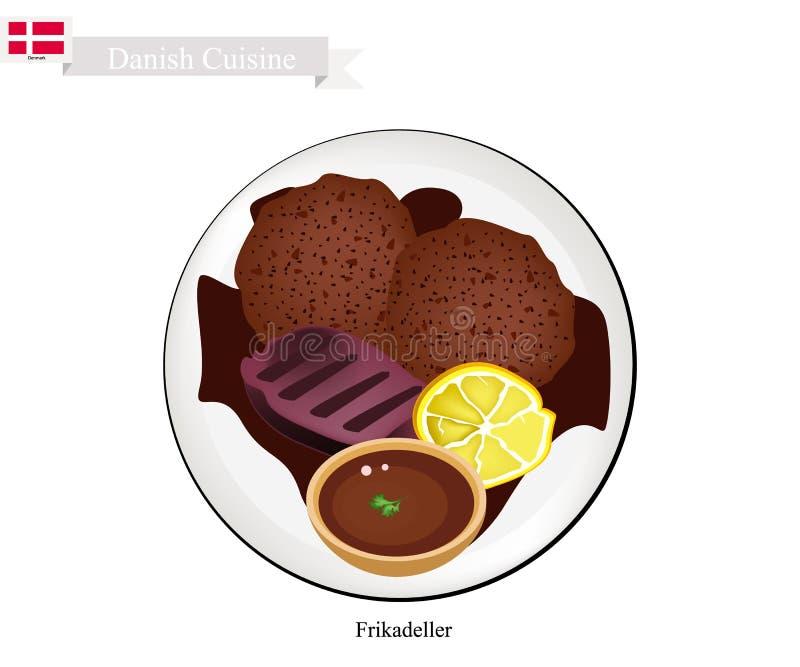 Frikadeller ou Fried Beef Patty, prato popular em Dinamarca ilustração do vetor