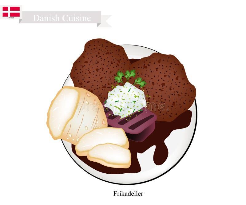 Frikadeller ou Fried Beef Patty, prato popular em Dinamarca ilustração royalty free