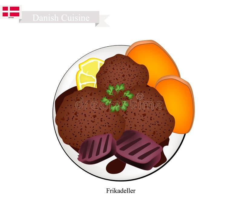 Frikadeller ou Fried Beef Patty, prato popular em Dinamarca ilustração stock