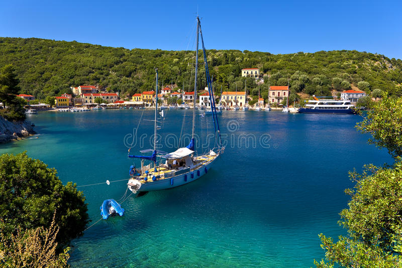 Frikes village, Ithaca. Greece. Ionian Islands - Ithaca. Lovely settlement of Frikes stock image