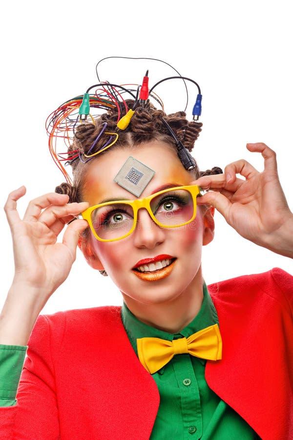 Friki de la muchacha Técnico del ordenador Gafas foto de archivo libre de regalías