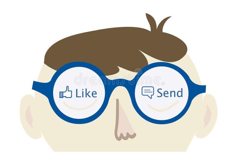 Friki del ordenador que piensa en Facebook ilustración del vector