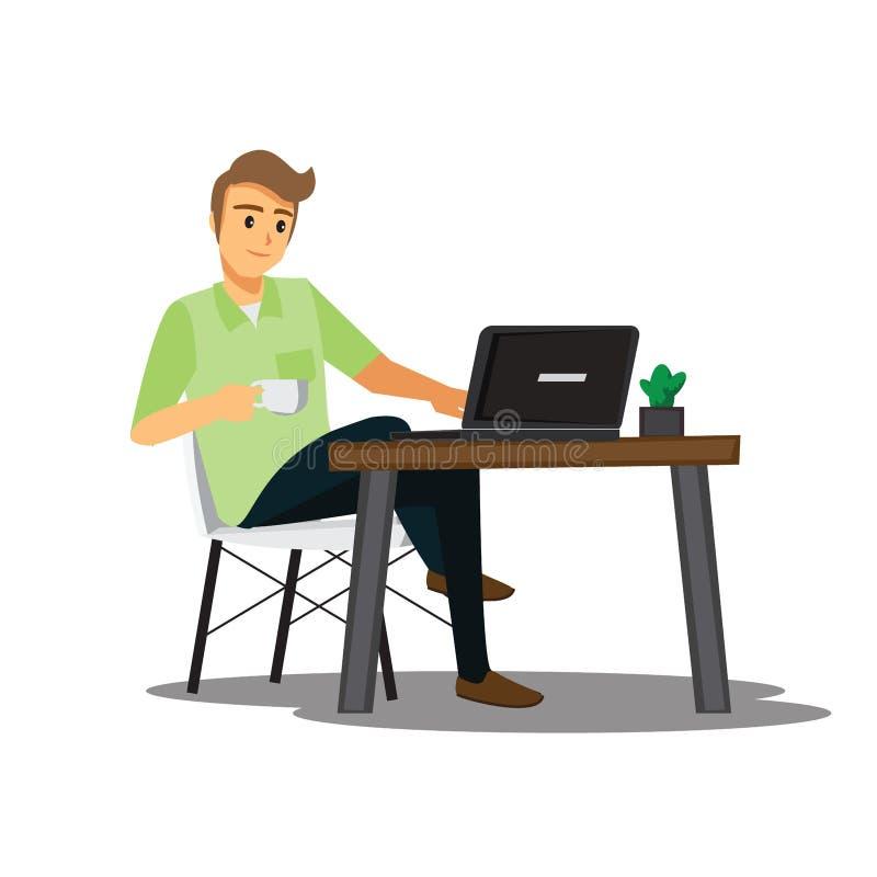 Frilans- bärare eller formgivare som hemma arbetar, vektortecken royaltyfri illustrationer