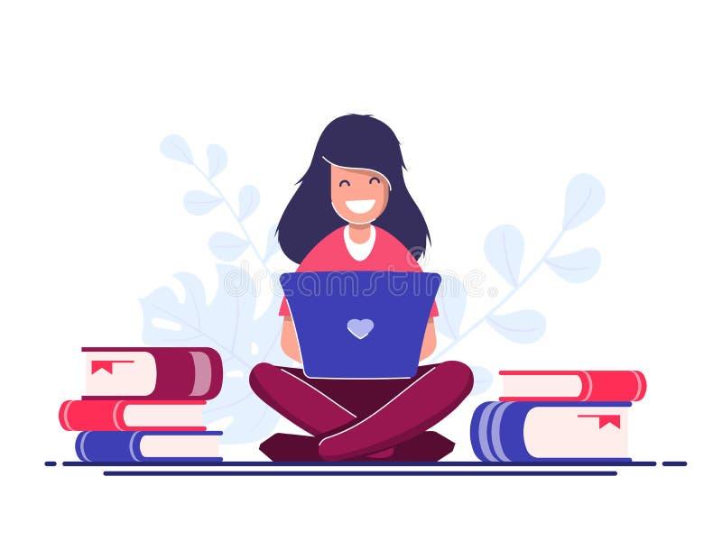 Frilans- eller icke-personal arbetarbegrepp Arbete, medan resa Ung flicka med arbeten för en bärbar dator via internet royaltyfri illustrationer