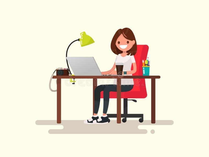 frilans Flickan formgivaren eller fotografen bak en deskto stock illustrationer