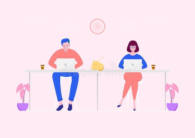 Frilans- folk som arbetar på bärbara datorn på workspace stock illustrationer