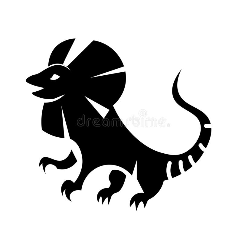 Frilled-necked lizard Icon Vector. This vector image shows an Frilled-necked lizard icon in glyph style. It is isolated on a white background stock illustration