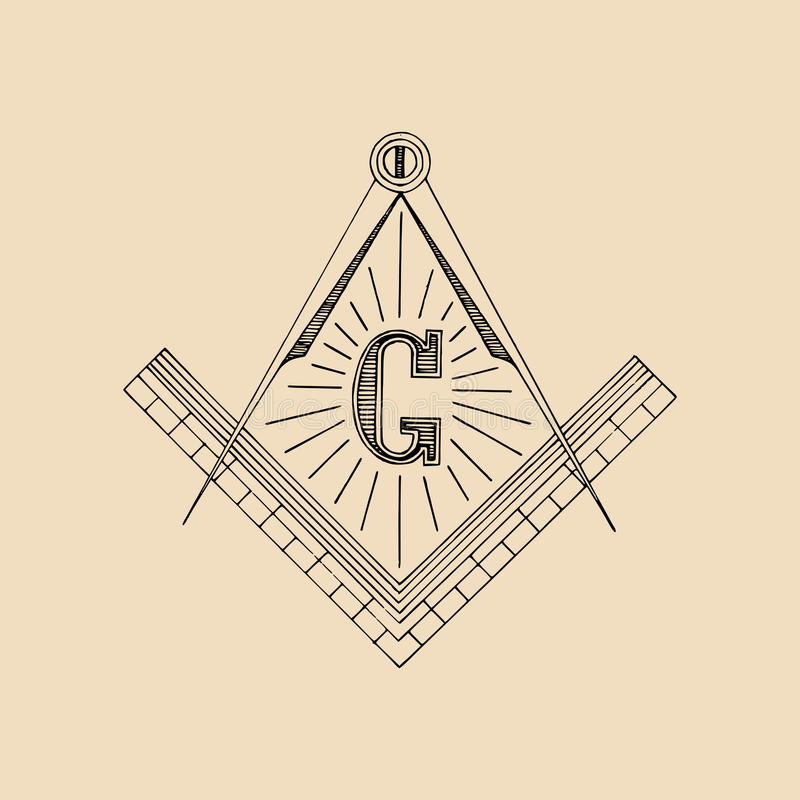 Frimurar- fyrkant- och kompasssymbol, emblem, logo Frimurerivektorillustration vektor illustrationer