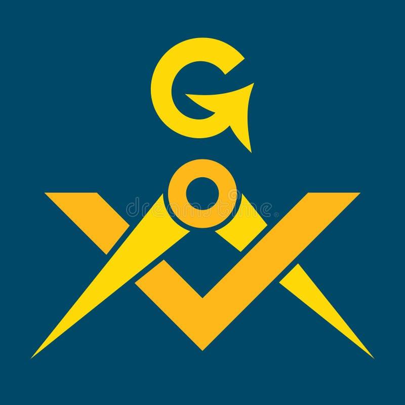 Frimurar- fyrkant och Sacral emblem för passare av hemlig broderskap royaltyfri illustrationer