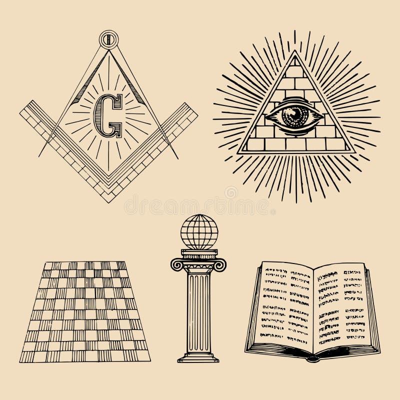 Frimurar- symboluppsättning för vektor Sakrala samhällesymboler, frimureriemblem, logoer Esoterisk illustrationsamling vektor illustrationer