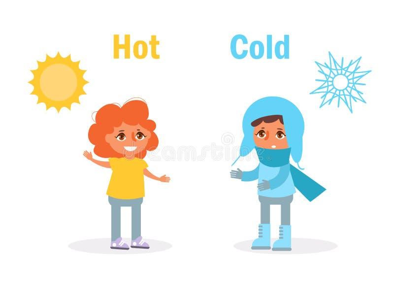 Frio quente oposto a ilustração do vetor