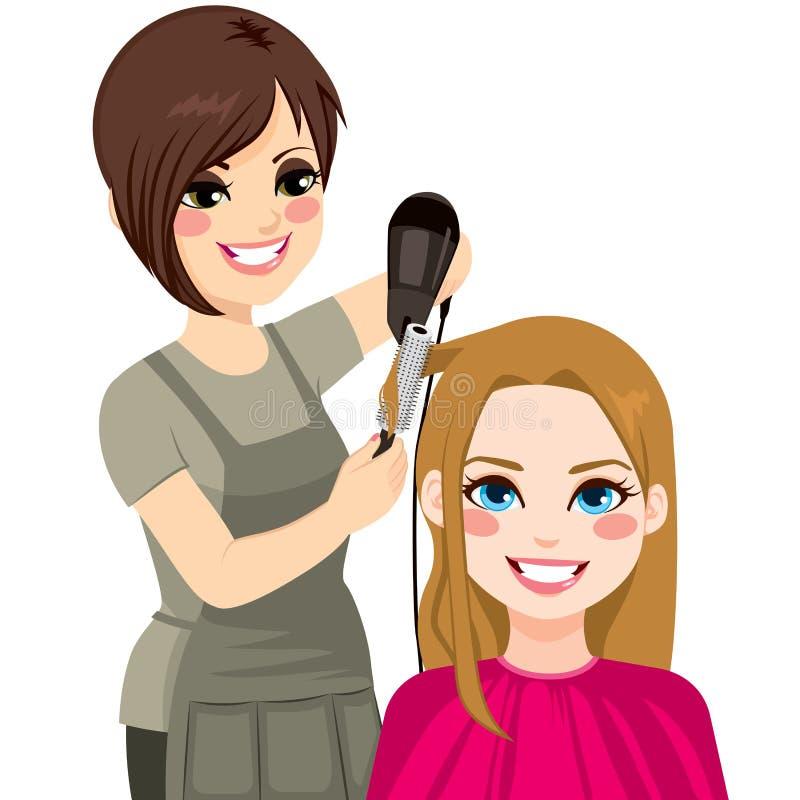 Frisör Drying Hair vektor illustrationer
