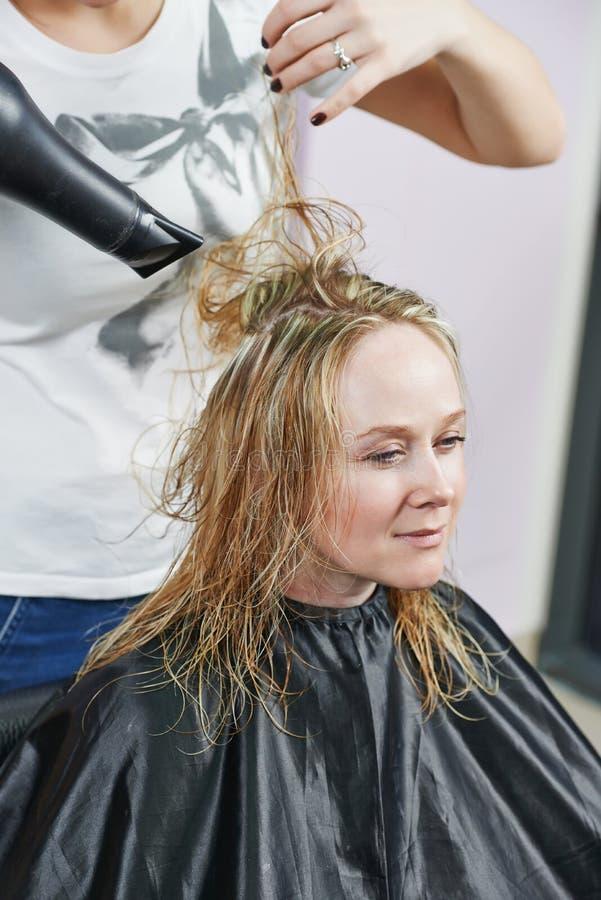 Frisör på arbete. Dryeing hår royaltyfri bild