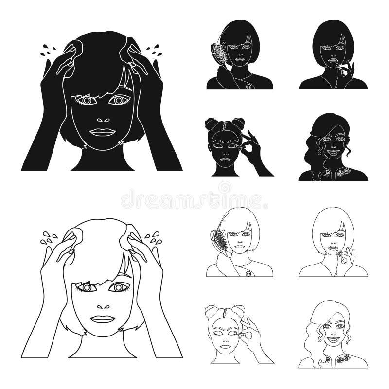 Frisör, skönhetsmedel, salong och annan rengöringsduksymbol i svart, översiktsstil Hjälpmedel hygien, omsorgsymboler i uppsättnin vektor illustrationer
