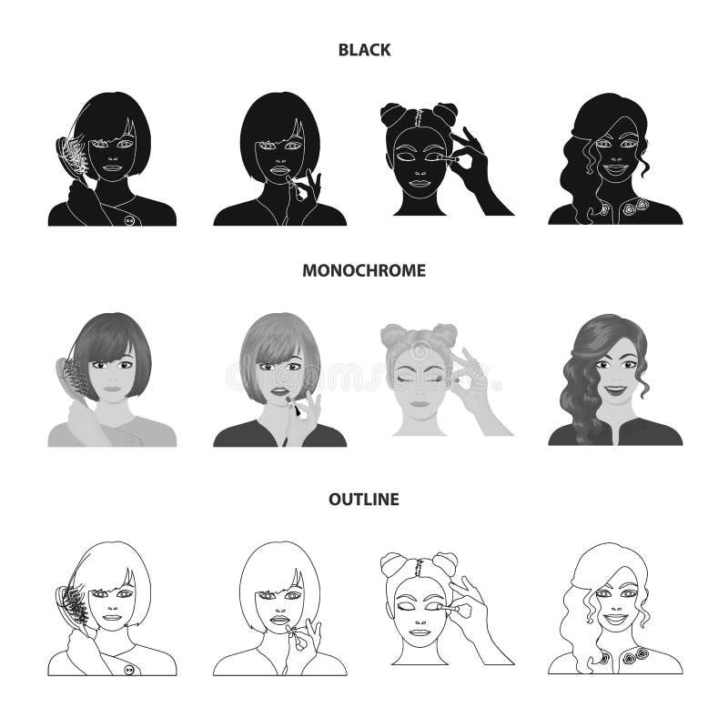 Frisör, skönhetsmedel, salong och annan rengöringsduksymbol i svart, monokrom, översiktsstil Hjälpmedel hygien, omsorgsymboler i  vektor illustrationer