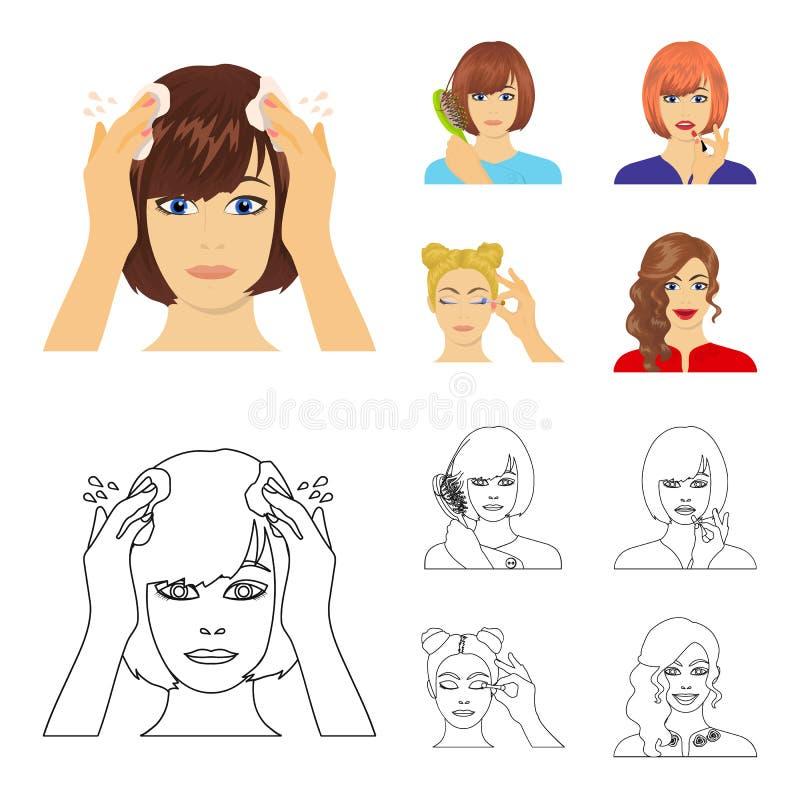 Frisör, skönhetsmedel, salong och annan rengöringsduksymbol i tecknade filmen, översiktsstil Hjälpmedel hygien, omsorgsymboler i  royaltyfri illustrationer