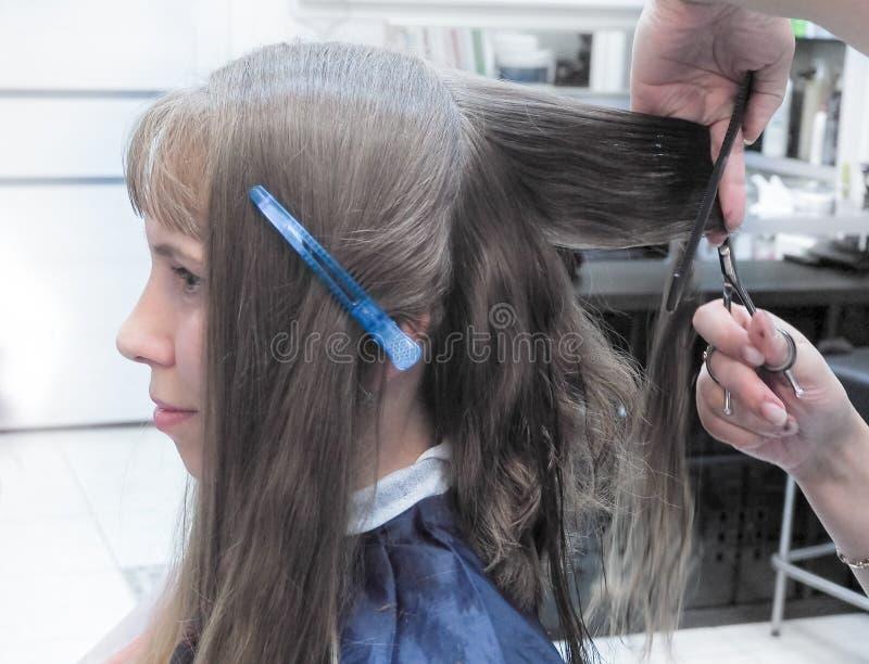 Frisör som gör frisyr i friseringsalong cuttinghårfrisören hands s-hjälpmedelkvinnan Skönhetbransch royaltyfri foto