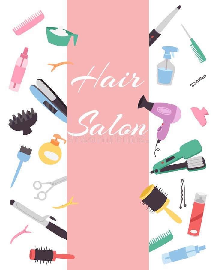 Frisörbaner med en uppsättning av olika hårkammar, en hårtork, sax för en frisyr Friseringutrustning _ stock illustrationer