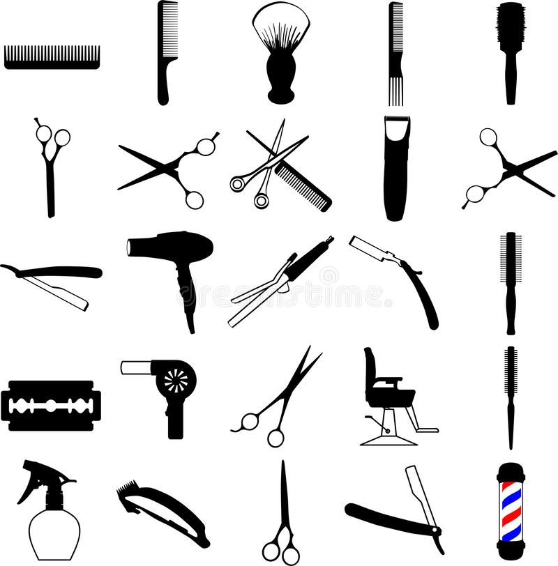 Frisören barberaren, salongsymboler räcker dragit, vektorn, Eps, logoen, symbolen, crafteroks, konturillustrationen för olikt bru vektor illustrationer