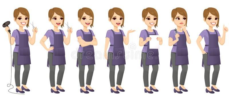 Frisören Woman Standing Different gör en gest vektor illustrationer