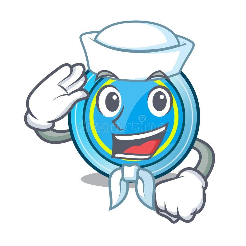 Frisbee ναυτικών στη μορφή μια μασκότ διανυσματική απεικόνιση