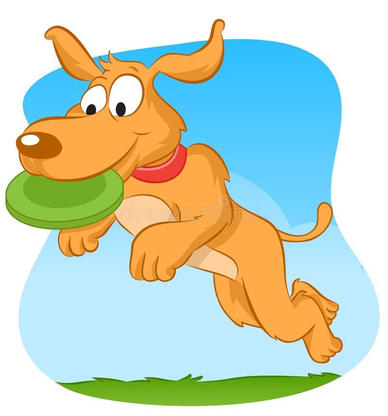 Frisbee собаки заразительный иллюстрация штока