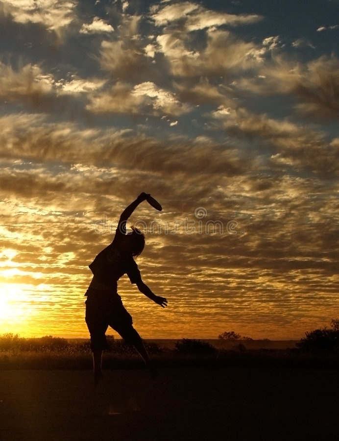 Download Frisbee in Sunset stock image. Image of active, person - 8977695