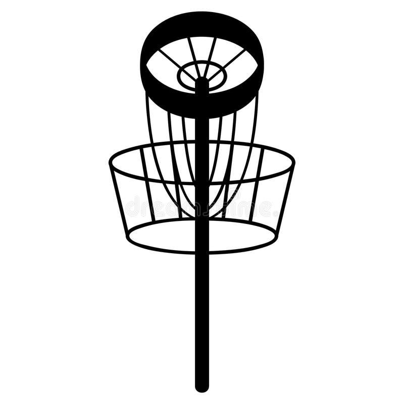 Frisbee vectoreps van het schijfgolf getrokken Hand, Vector, Eps, Embleem, Pictogram, crafteroks, silhouetillustratie voor versch royalty-vrije illustratie