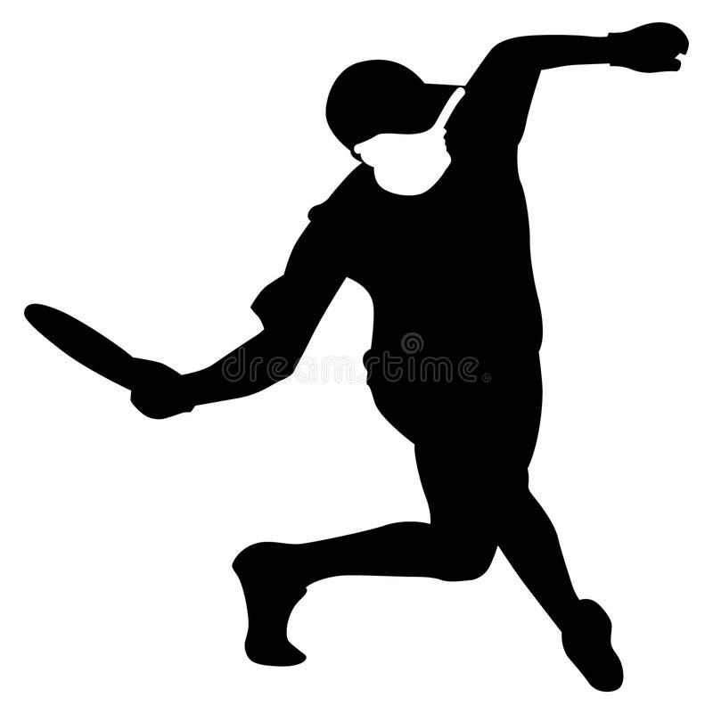 Frisbee vectoreps van het schijfgolf getrokken Hand, Vector, Eps, Embleem, Pictogram, crafteroks, silhouetillustratie voor versch stock illustratie