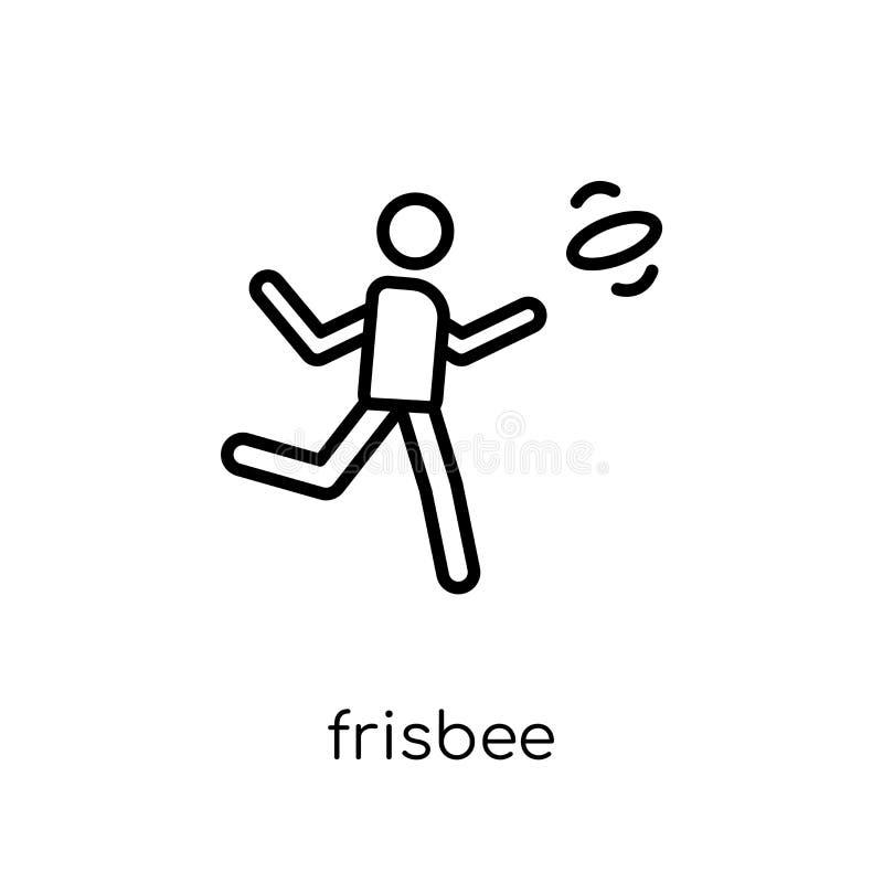 Frisbeepictogram In modern vlak lineair vectorfrisbee-pictogram op w vector illustratie