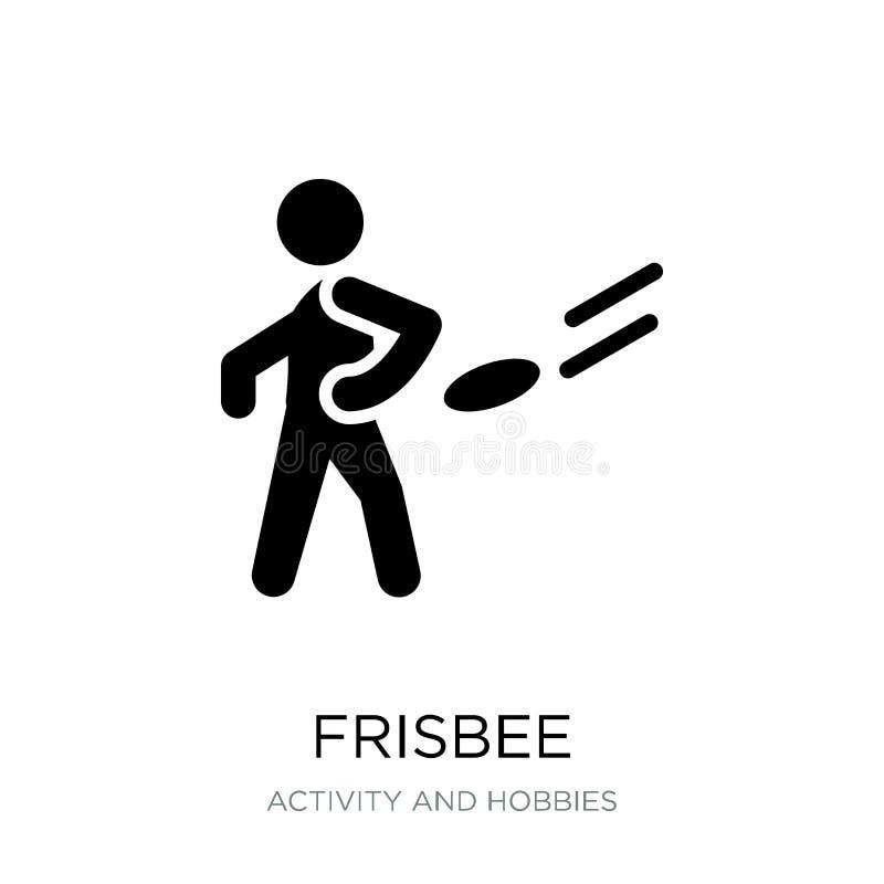 frisbeepictogram in in ontwerpstijl frisbeepictogram op witte achtergrond wordt geïsoleerd die eenvoudige en moderne vlakke symbo vector illustratie