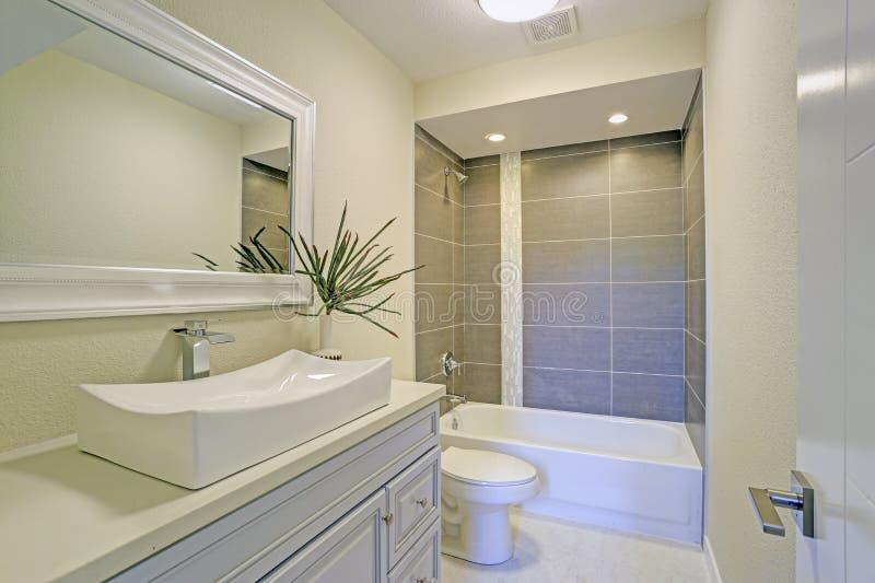 Frisch erneuerte Badezimmerfunktions-Duschwanne kombiniert lizenzfreie stockfotografie
