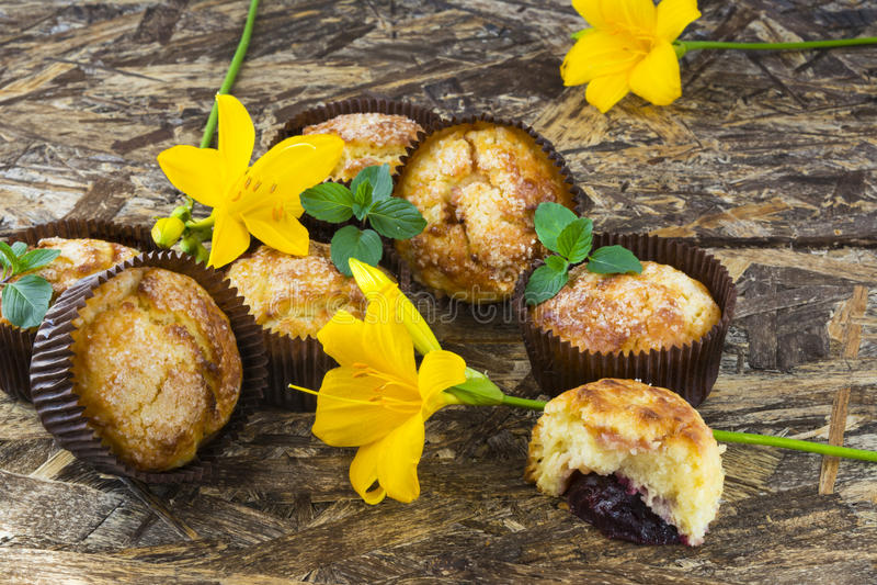 Frisch gebackene Muffins mit Pflaume, Minze und Lilie blühen lizenzfreies stockfoto