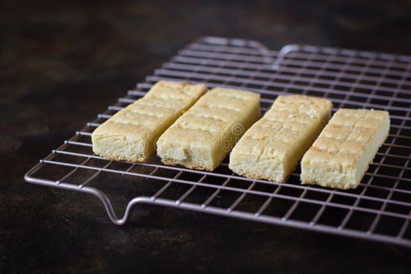 Frisch gebackene Scheiben des Kekses abkühlend auf einem Drahtgitter lizenzfreie stockbilder