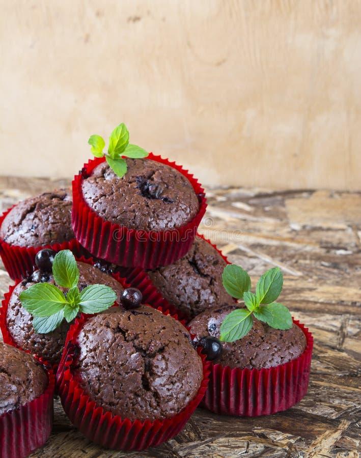 Frisch gebackene Schokoladenmuffins mit Korinthe und Minze in den roten Formen stockfotos