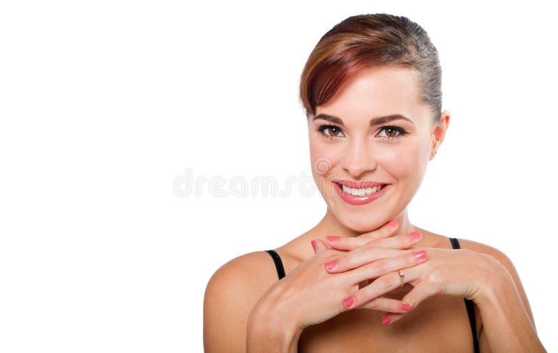 Frisch-gegenübergestellte Frau stockfotografie