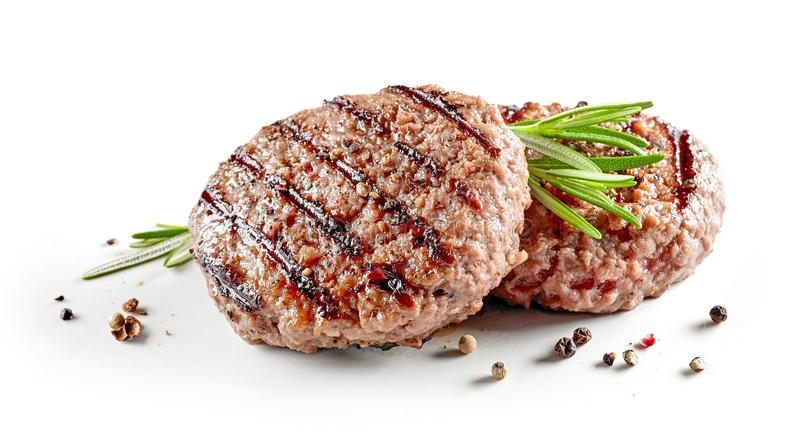 Frisch gegrilltes Burgerfleisch lizenzfreie stockfotos