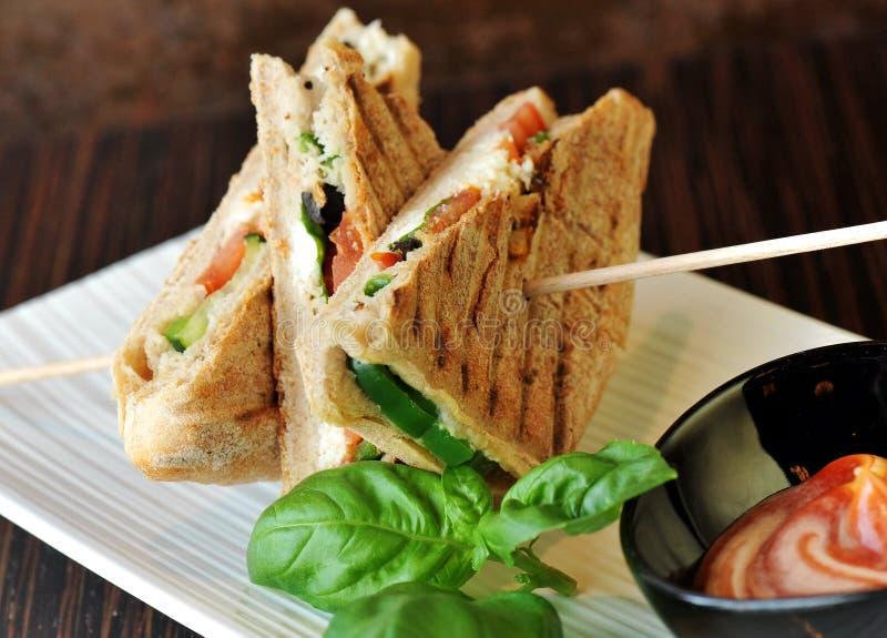 Gesunde Veggie panini Sandwiche stockbild