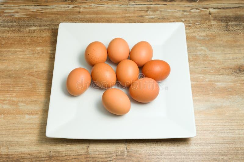 Frisch, organisch, Hühnereien auf Platten lizenzfreie stockfotografie