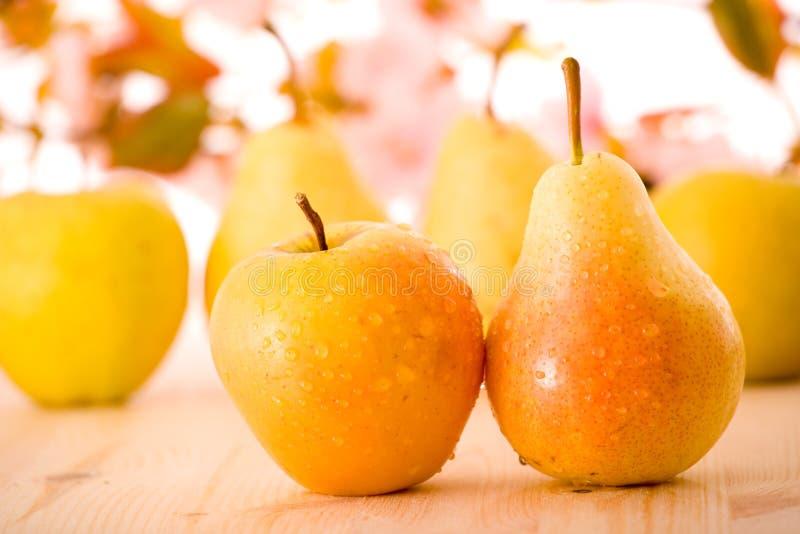 Frische Äpfel und Birnen stockbilder