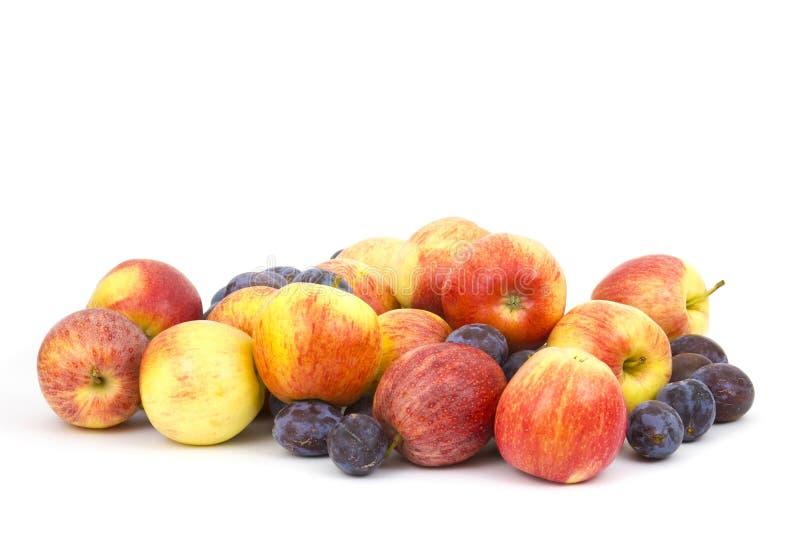 Frische Äpfel und Pflaumen lizenzfreie stockfotografie
