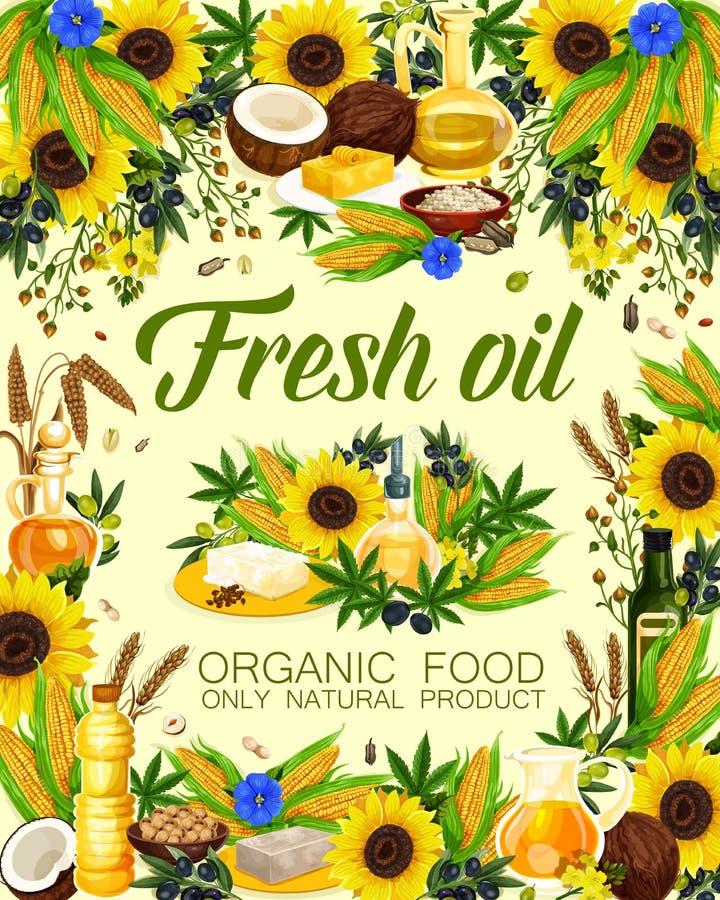 Frische Öle von Anlagen oder von Kräutern und von Fruchtplakat stock abbildung