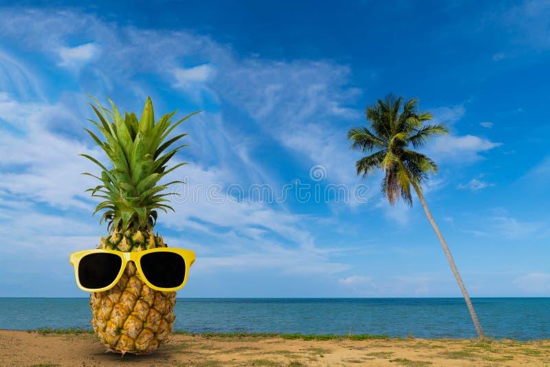 Frische Ananas auf dem Strand, Modehippie-Ananas, helle Sommerfarbe, tropische Frucht mit Sonnenbrille stockbilder