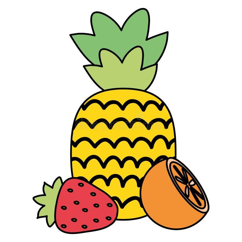 Frische Ananas mit Erdbeere und Orange stock abbildung