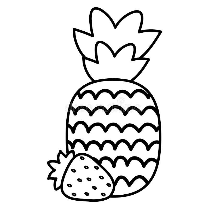 Frische Ananas mit Erdbeerfrucht-Sommerikonen vektor abbildung